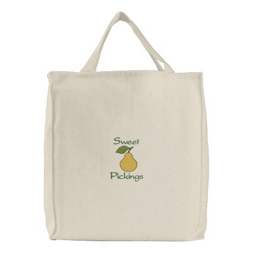 Sweet Pickings Yellow Pear Fruit Grocery Embroidered Tote Bags