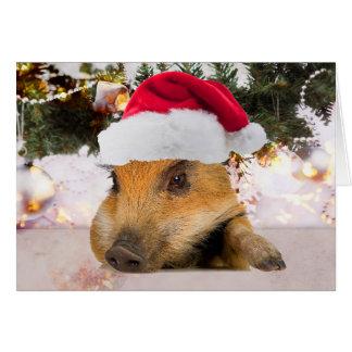 Sweet Pig In Santa Hat Christmas Tree Card