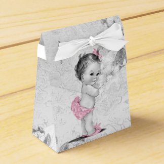 Sweet Pink and Gray Baby Shower Favor Boxes