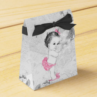 Sweet Pink and Gray Baby Shower Favor Boxes Wedding Favour Box