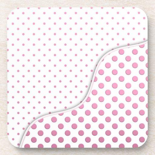 Sweet Pink and White Polka Dot Pattern Design Coaster