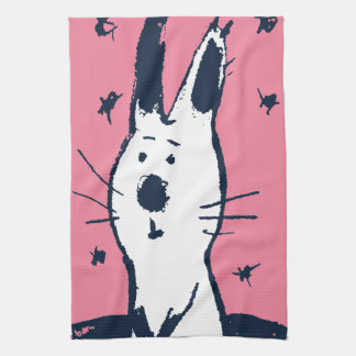 Sweet Pink and White Rabbit Kitchen Towel