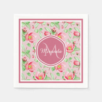Sweet Pink Apple Blossom Floral With Monogram Disposable Napkin
