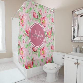 Sweet Pink Apple Blossom Floral With Monogram Shower Curtain