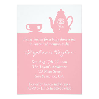 sweet pink baby shower tea party for mom to be card