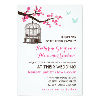 Sweet Pink Bird Cage Flower Wedding Invitation