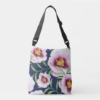 Sweet pink blue poppy vintage floral pattern crossbody bag