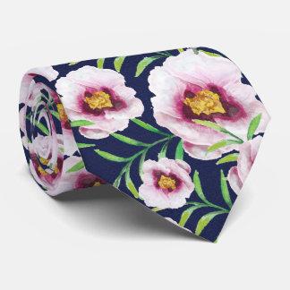 Sweet pink blue poppy vintage floral pattern tie