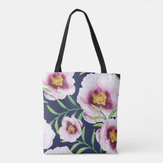 Sweet pink blue poppy vintage floral pattern tote bag