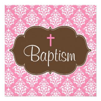 Sweet Pink Brown Damask Cross Girl Baptism Invites