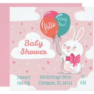 Sweet pink bunny balloons baby shower invitation