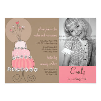 Sweet Pink Cake Girl Birthday Party Photo Invitati 13 Cm X 18 Cm Invitation Card