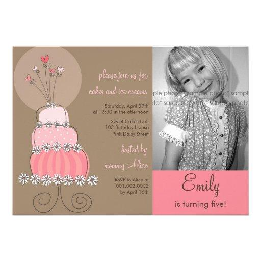 Sweet Pink Cake Girl Birthday Party Photo Invitati Custom Invite