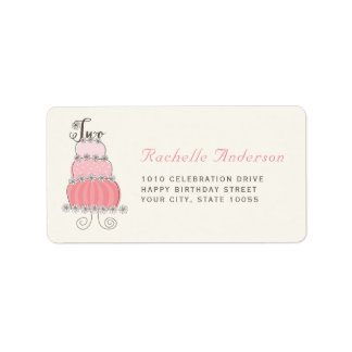 Sweet Pink Cake Two Girl 2nd Birthday Party Labels