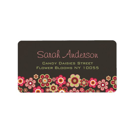 Sweet Pink Candy Daisies Flowers Girly Pattern Fun Address Label