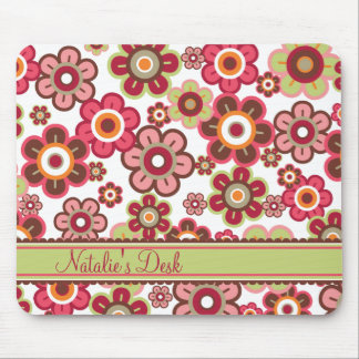 Sweet Pink Candy Daisies Flowers Girly Pattern Fun Mouse Pad