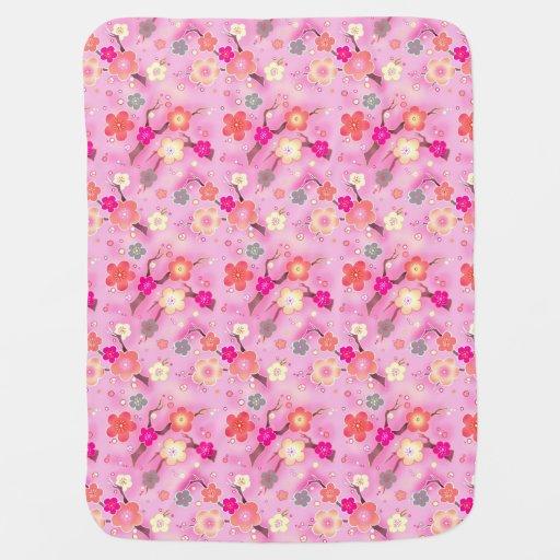 Sweet Pink Cherry Blossom sakura baby blanket