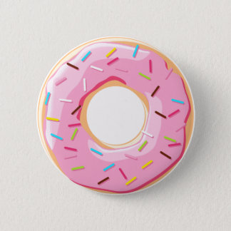 Sweet pink donuts with sprinkles toppings 6 cm round badge