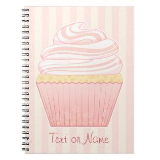 Sweet Pink Elegant Cupcake Spiral Notebooks