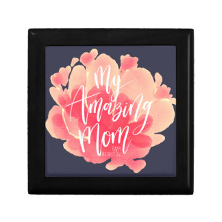 Sweet pink floral watercolor My amazing mom Gift Box