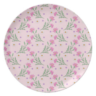 Sweet Pink Flowers Pattern Party Plate