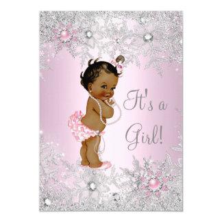 Sweet Pink Girl Girl Baby Shower Snowflake Ethnic 13 Cm X 18 Cm Invitation Card