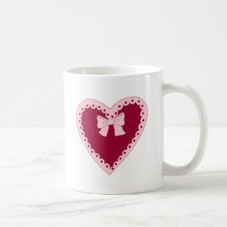 Sweet Pink Heart Basic White Mug