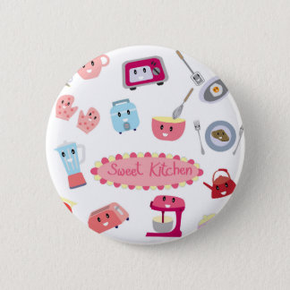 Sweet pink kitchen electricity and tool cute icon 6 cm round badge