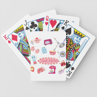 Sweet pink kitchen electricity and tool cute icon bicycle playing cards