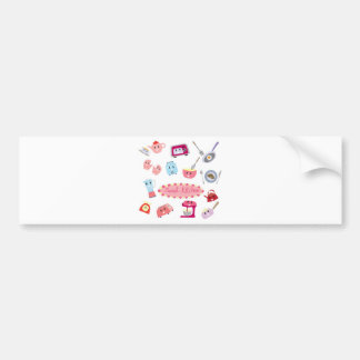 Sweet pink kitchen electricity and tool cute icon bumper sticker