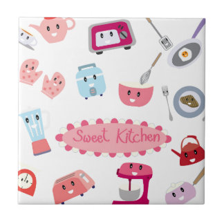 Sweet pink kitchen electricity and tool cute icon ceramic tile