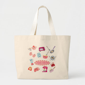 Sweet pink kitchen electricity and tool cute icon large tote bag