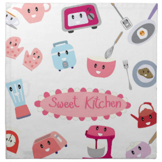 Sweet pink kitchen electricity and tool cute icon napkin