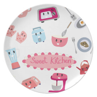 Sweet pink kitchen electricity and tool cute icon plate