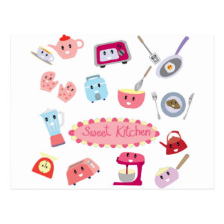 Sweet pink kitchen electricity and tool cute icon postcard