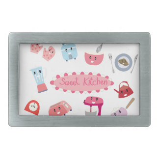 Sweet pink kitchen electricity and tool cute icon rectangular belt buckle