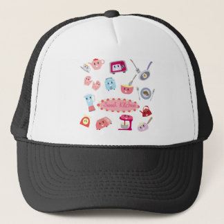 Sweet pink kitchen electricity and tool cute icon trucker hat