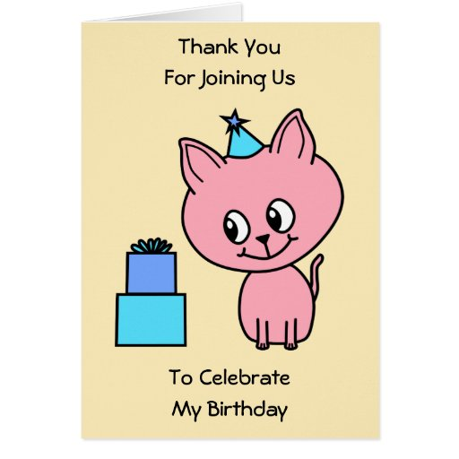 Sweet Pink Kitten Wearing a Birthday Hat. Greeting Cards