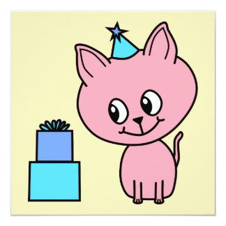 Sweet Pink Kitten Wearing a Birthday Hat. Custom Invites
