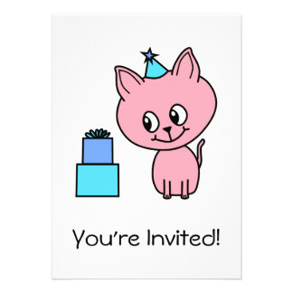 Sweet Pink Kitten Wearing a Birthday Hat. Card
