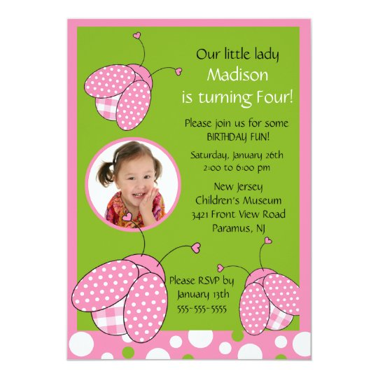 Sweet Pink Ladybug Photo Birthday Invitation