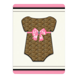 Sweet Pink Leopard Baby Shower 17 Cm X 22 Cm Invitation Card