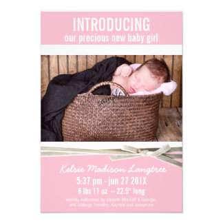 Sweet Pink New Baby Girl Birth Announcement
