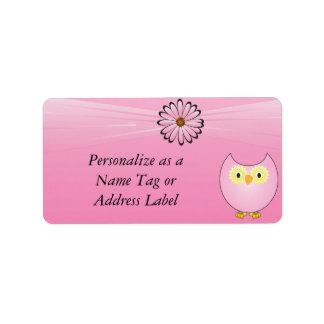 Sweet Pink Owl Address Label