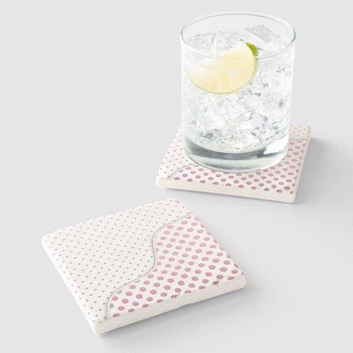 Sweet Pink Polka Dots Pattern Stone Beverage Coaster
