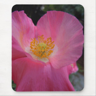 Sweet Pink Poppy Heart Mouse Pad