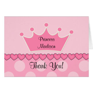 Sweet Pink Princess CrownThank You Note Card