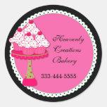 Sweet Pink Round Cupcake Bakery Stickers