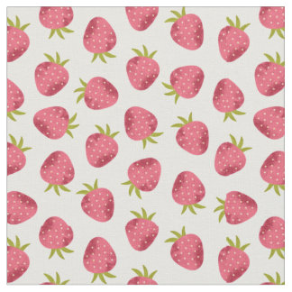 Sweet Pink Strawberry Seamless Pattern Fabric