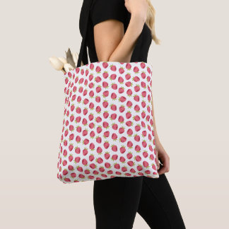 Sweet Pink Strawberry Seamless Pattern Tote Bag